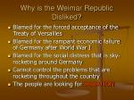 why is the weimar republic disliked