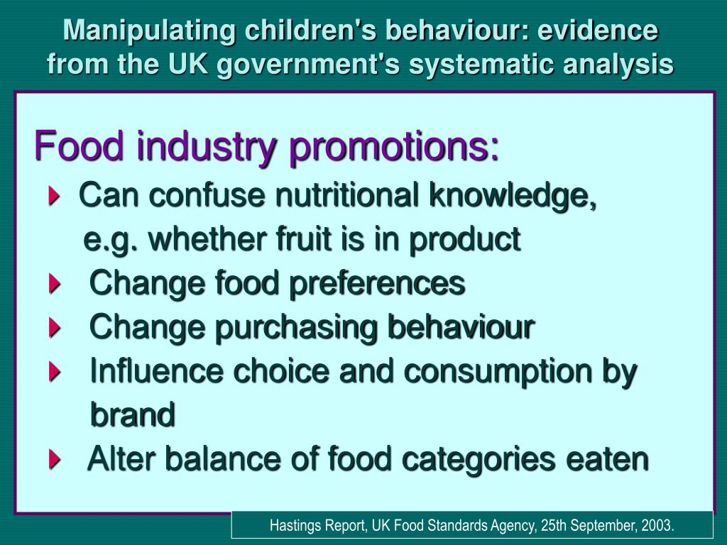 Manipulating children's behaviour: evidence from the UK government's systematic analysis