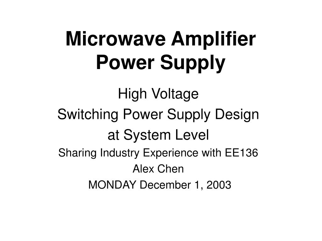microwave amplifier power supply l.