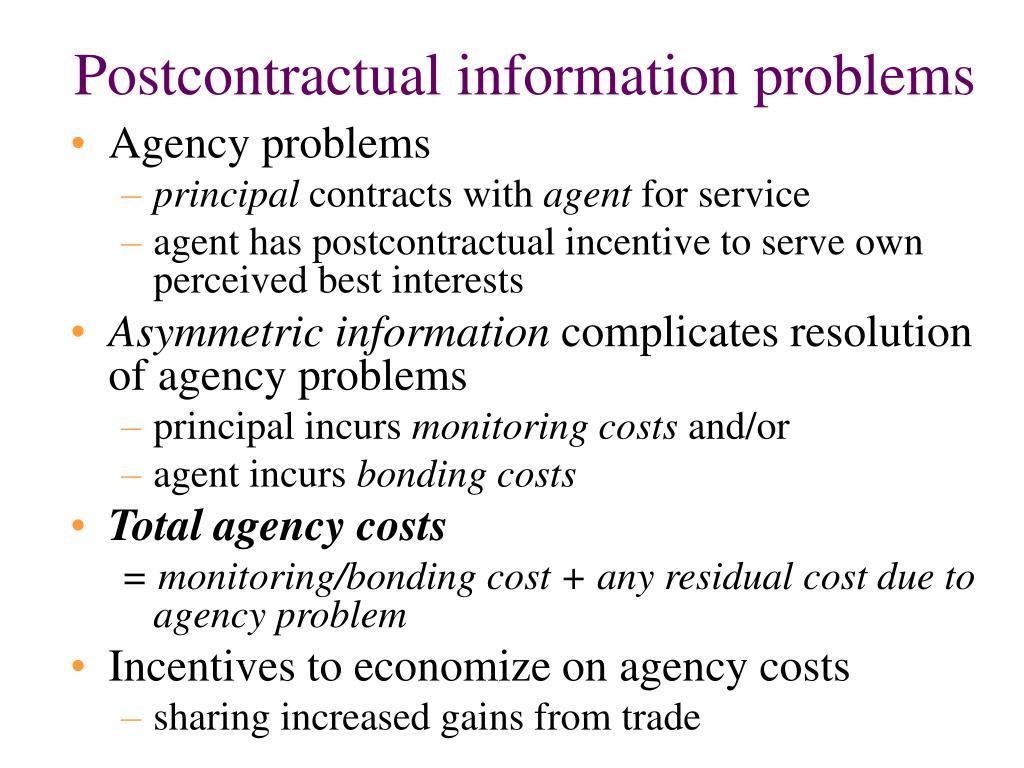 Postcontractual information problems