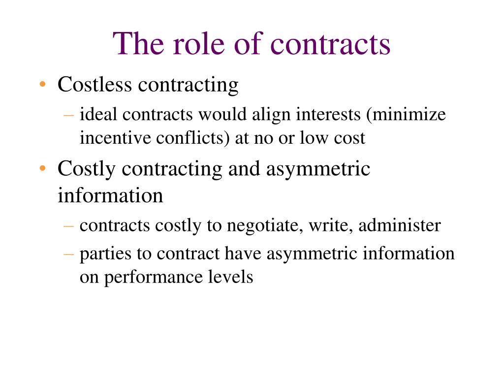 The role of contracts