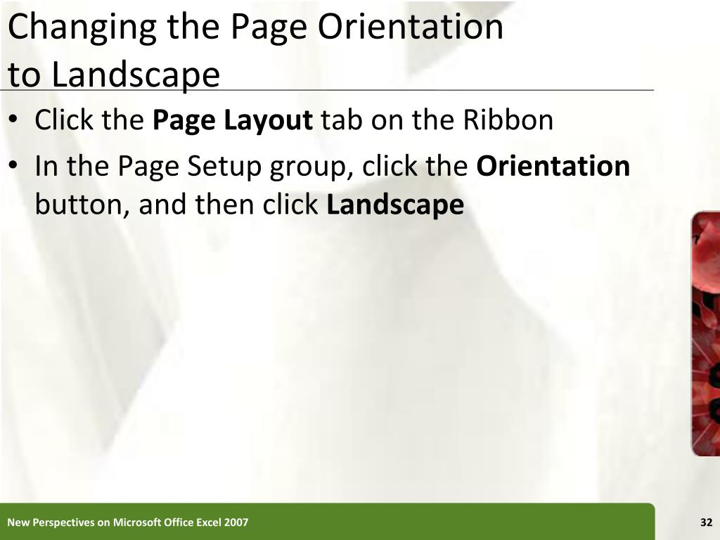 Changing the Page Orientation
