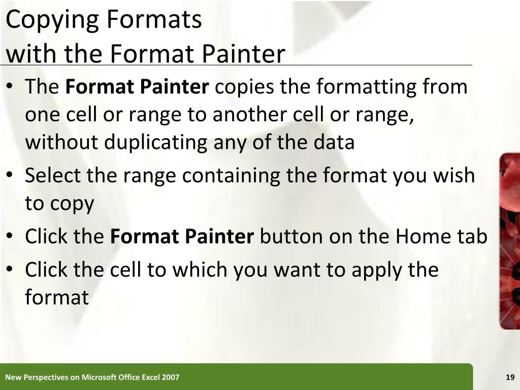 Copying Formats