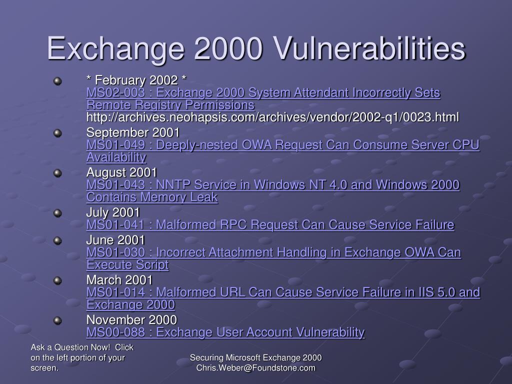 Exchange 2000 Vulnerabilities