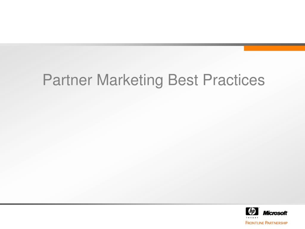 Partner Marketing Best Practices