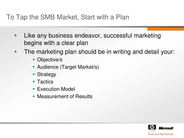 To tap the smb market start with a plan