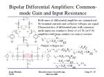 bipolar differential amplifiers common mode gain and input resistance