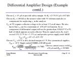 differential amplifier design example contd