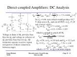 direct coupled amplifiers dc analysis