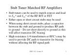stub tuner matched rf amplifiers