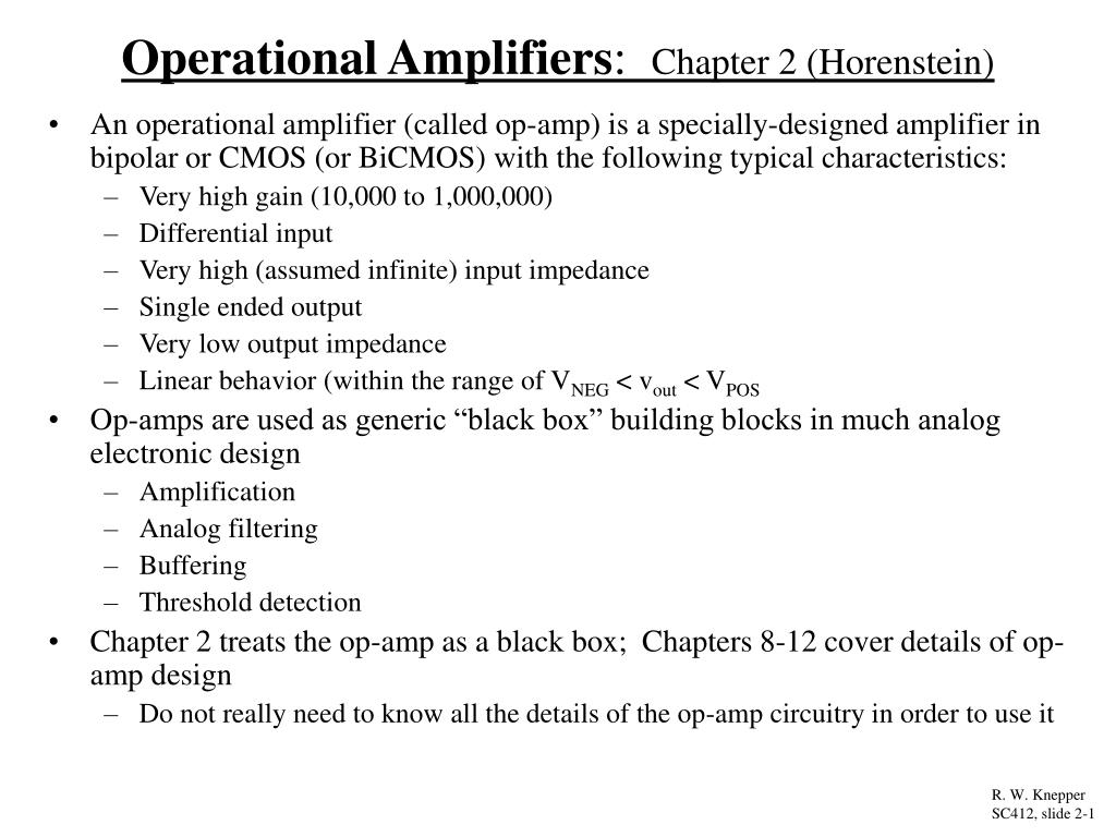 operational amplifiers chapter 2 horenstein l.
