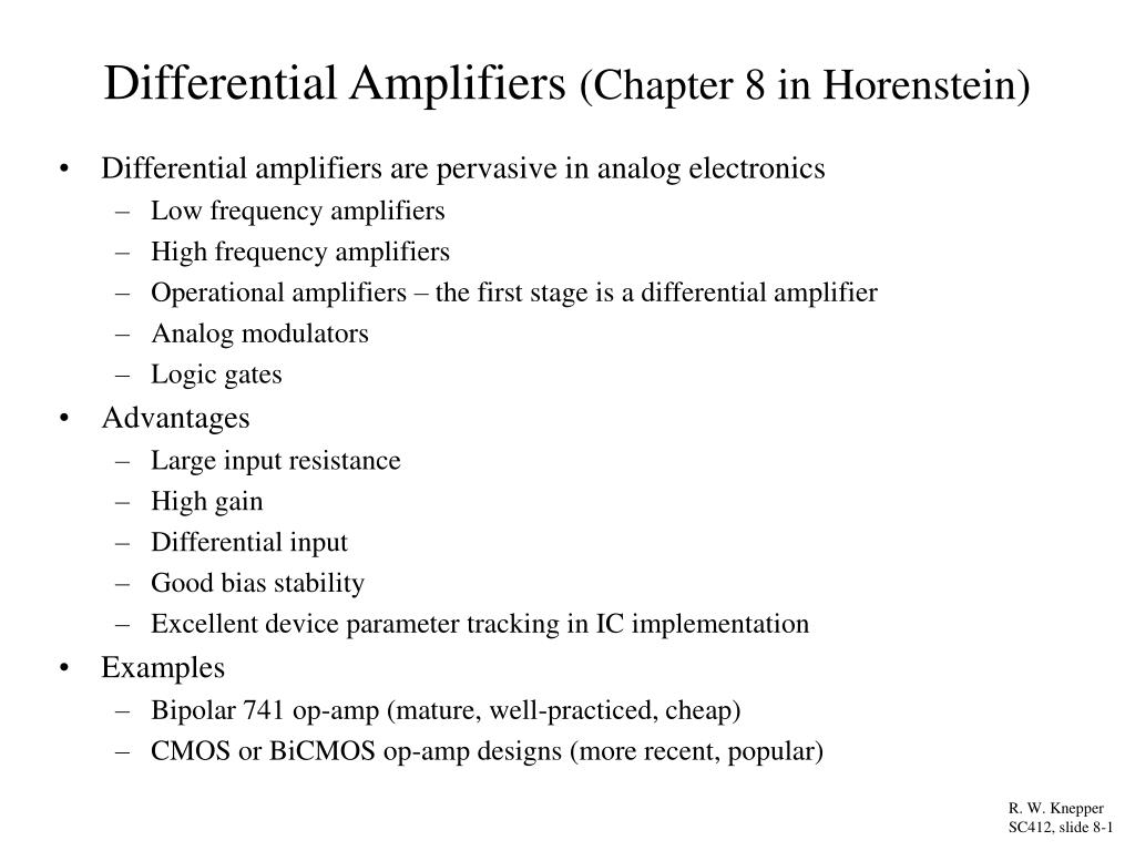 differential amplifiers chapter 8 in horenstein l.
