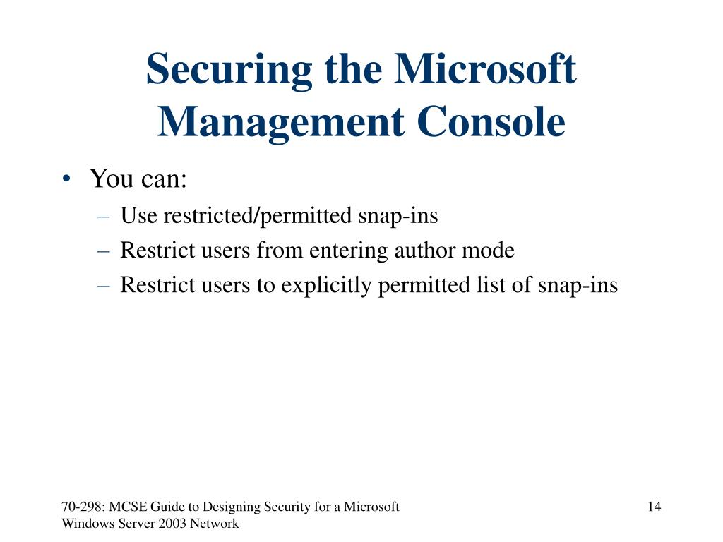 Securing the Microsoft Management Console