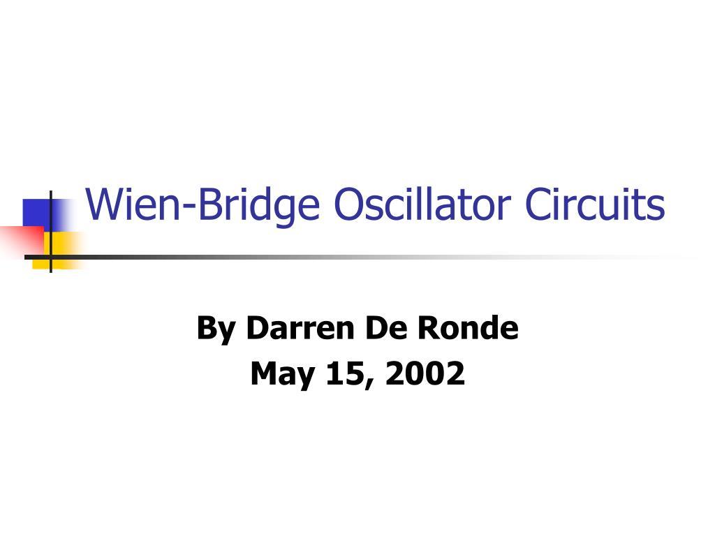 wien bridge oscillator circuits l.