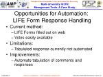 opportunities for automation life form response handling