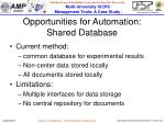 opportunities for automation shared database