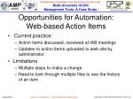 opportunities for automation web based action items