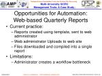 opportunities for automation web based quarterly reports