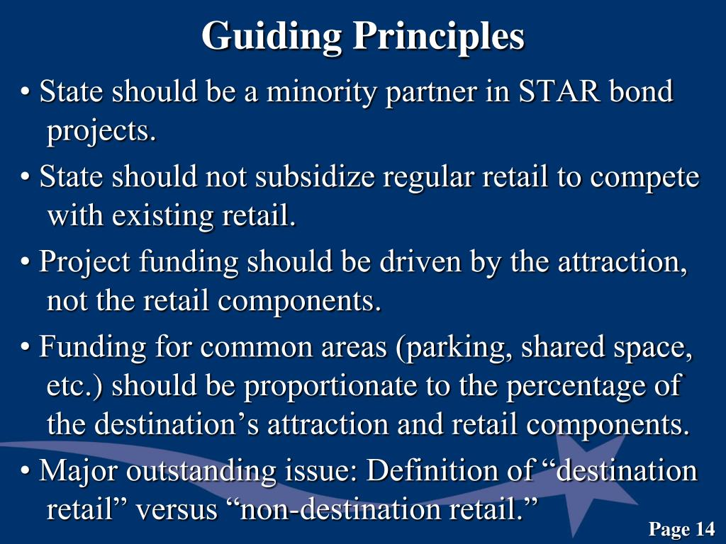 • State should be a minority partner in STAR bond projects.
