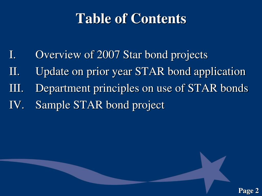 I. Overview of 2007 Star bond projects