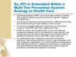 so rti is embedded within a multi tier prevention system analogy to health care