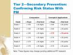 tier 2 secondary prevention confirming risk status with pm114