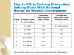 tier 3 pm in tertiary prevention setting goals with national norms for weekly improvement137