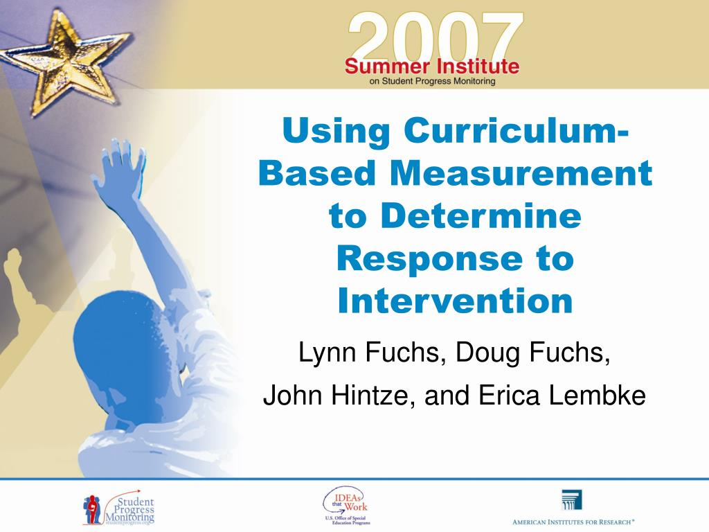 using curriculum based measurement to determine response to intervention l.