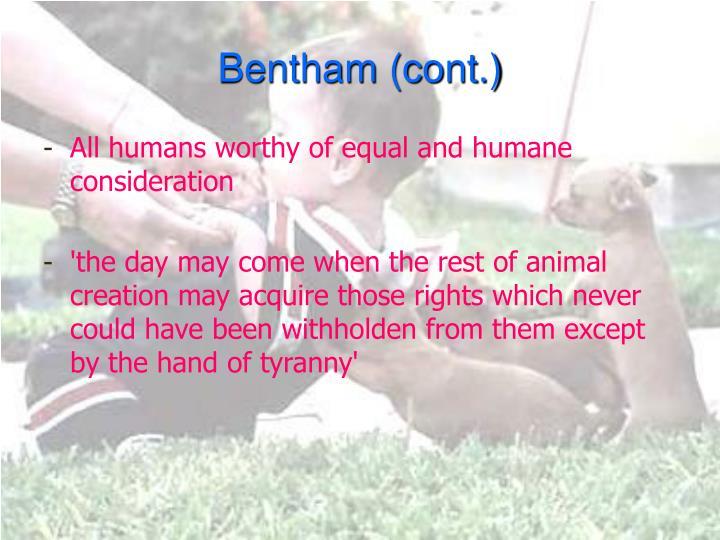 Bentham (cont.)