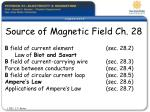 source of magnetic field ch 28