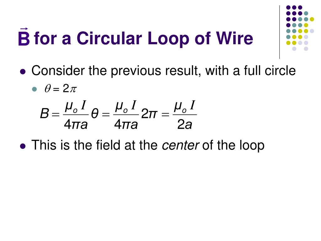 for a Circular Loop of Wire
