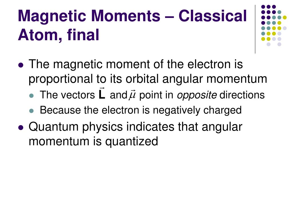 Magnetic Moments – Classical Atom, final