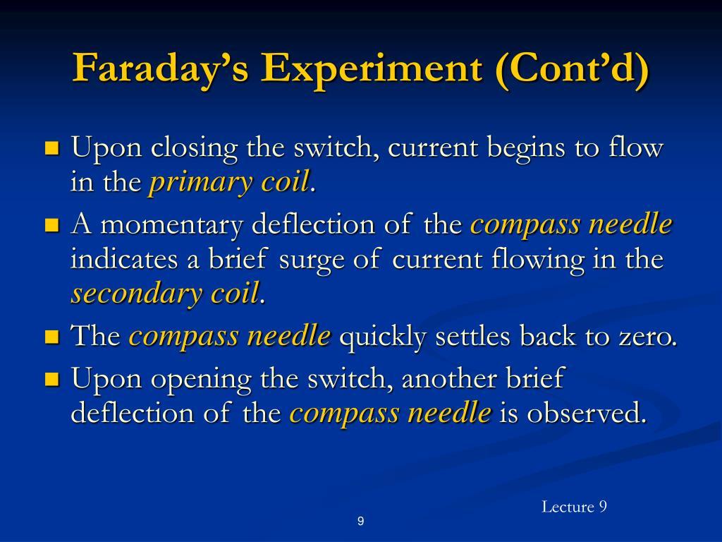 Faraday's Experiment (Cont'd)