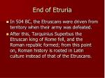 end of etruria