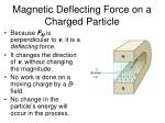 magnetic deflecting force on a charged particle
