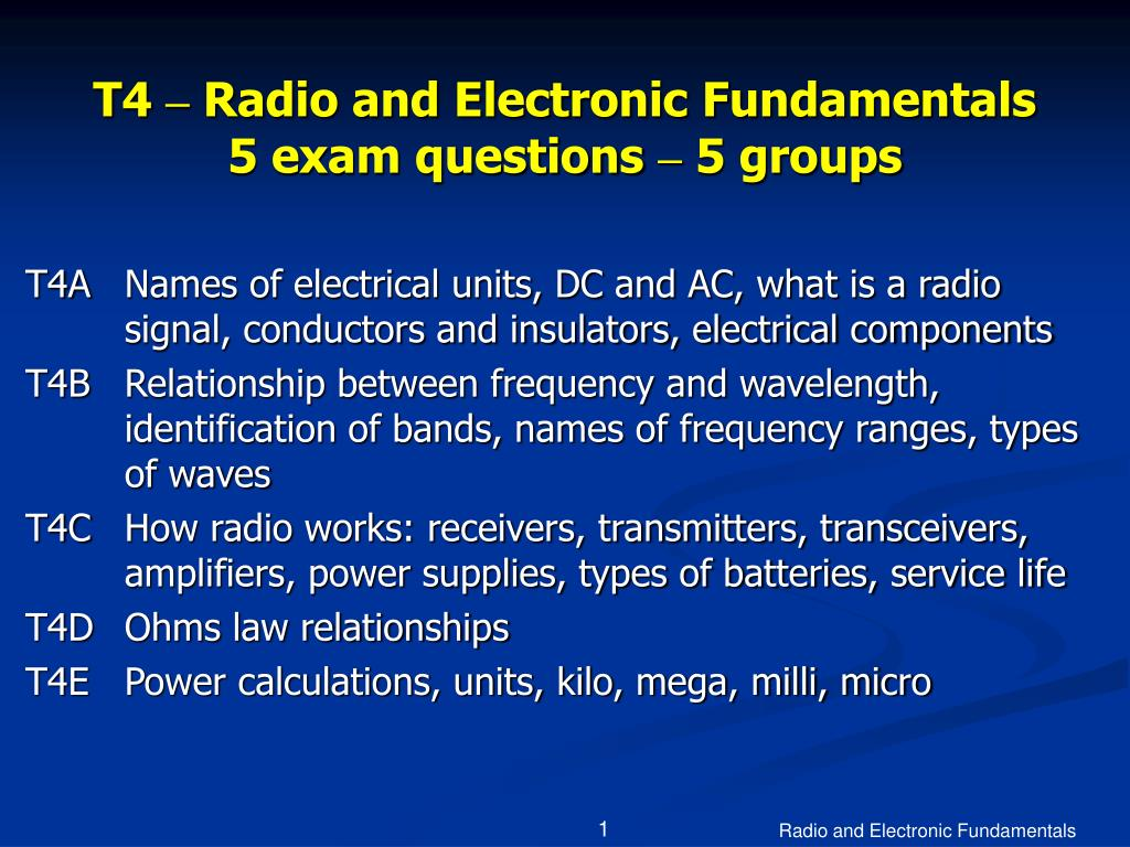 t4 radio and electronic fundamentals 5 exam questions 5 groups l.