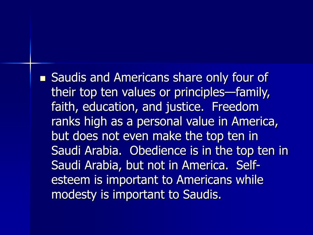 Saudis and Americans share only four of their top ten values or principles—family, faith, education, and justice.  Freedom ranks high as a personal value in America, but does not even make the top ten in Saudi Arabia.  Obedience is in the top ten in Saudi Arabia, but not in America.  Self-esteem is important to Americans while modesty is important to Saudis.