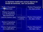 la siguiente clasificaci n excluye algunas las formas de transici n son los protistas