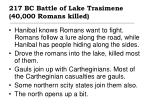 217 bc battle of lake trasimene 40 000 romans killed