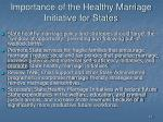 importance of the healthy marriage initiative for states