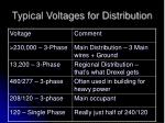 typical voltages for distribution