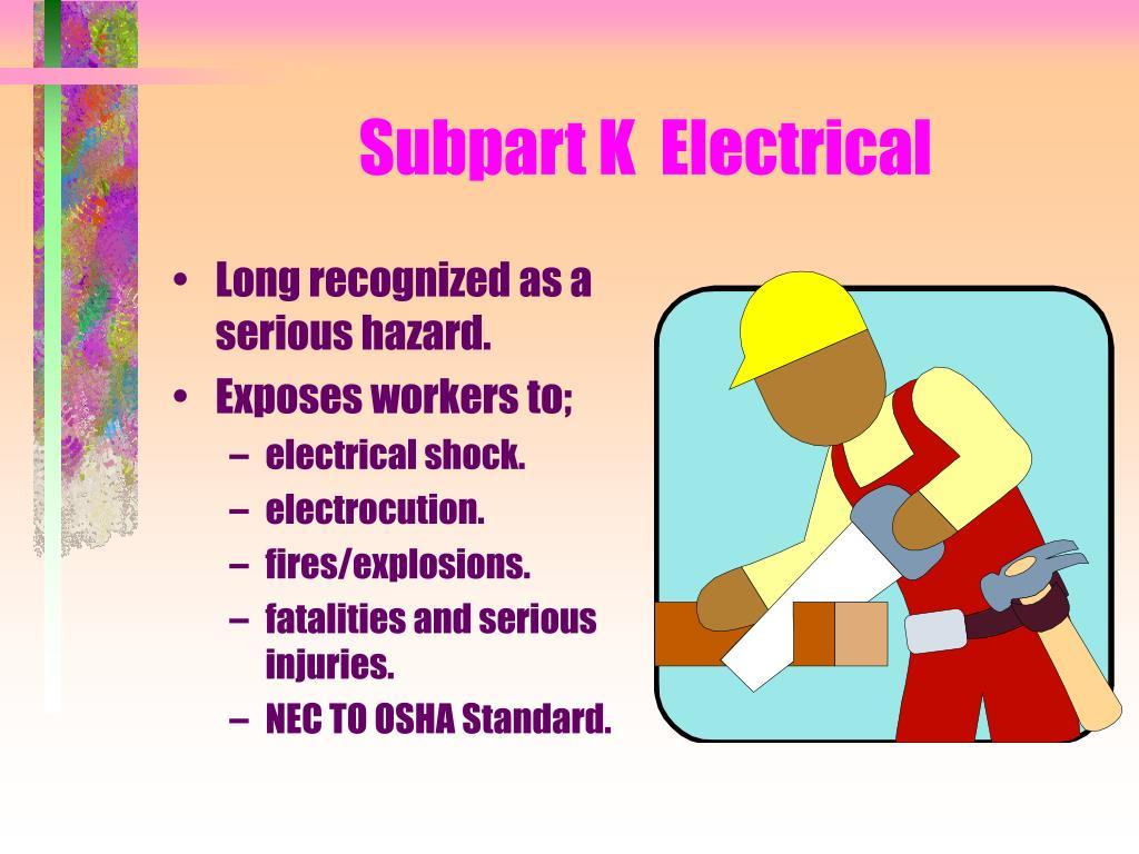 subpart k electrical l.