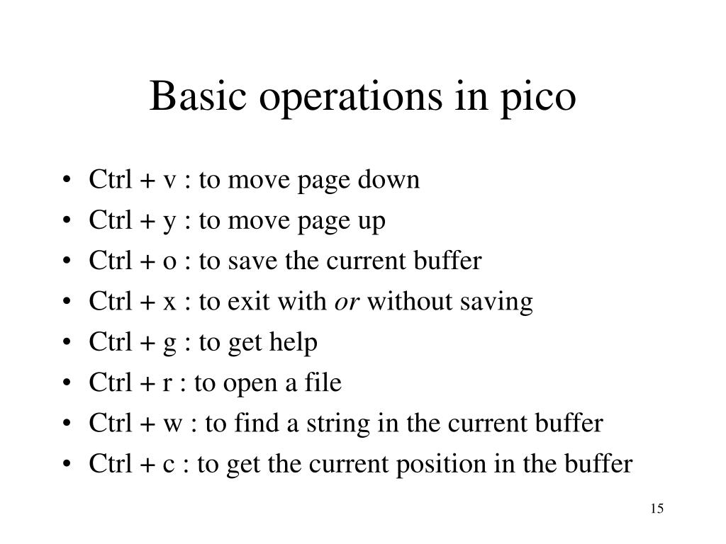 Basic operations in pico