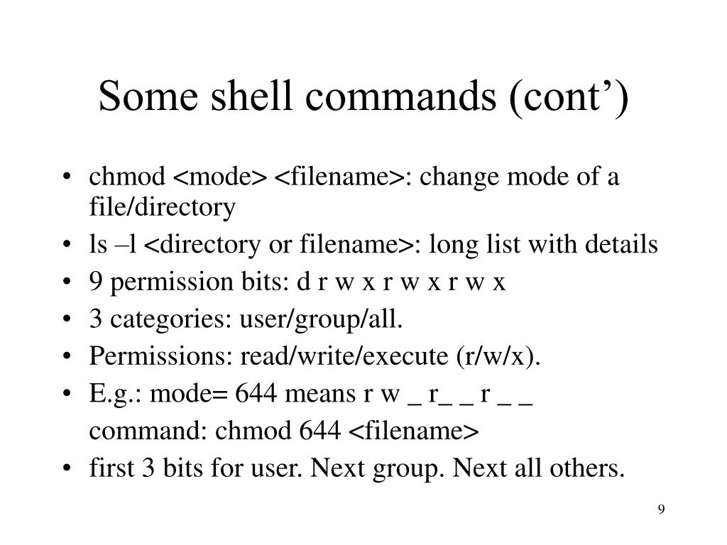 Some shell commands (cont')