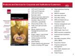 products and services for corporate and institutional customers