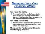 managing your own financial affairs