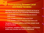 distinguishing between local and global variables15