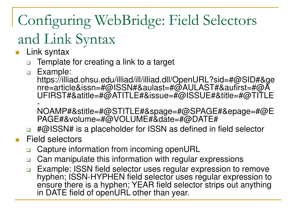 Configuring WebBridge: Field Selectors and Link Syntax