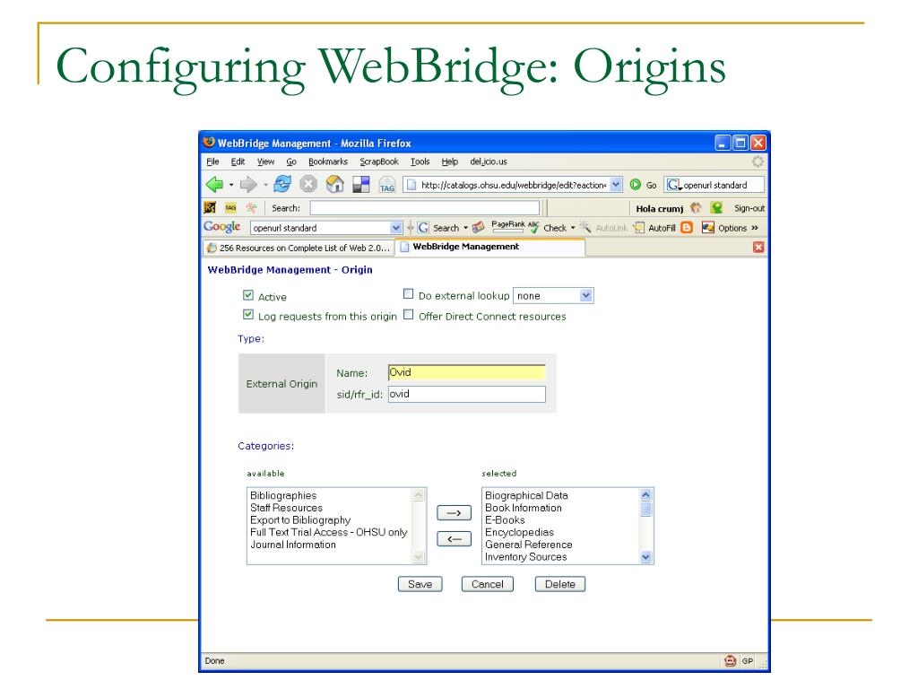 Configuring WebBridge: Origins