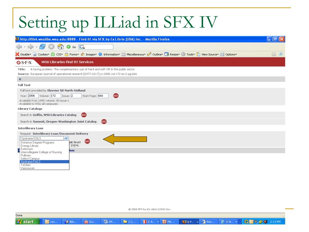 Setting up ILLiad in SFX IV